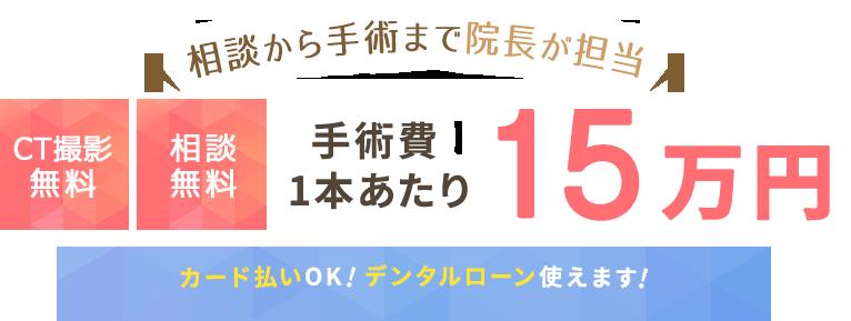 相談から手術まで院長が担当 下部・上部構造込み25万円~